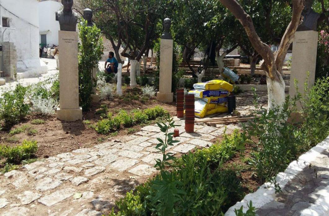 Eργασίες για τον καλλωπισμό του κήπου των Υδραίων Ζωγράφων